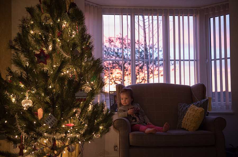 photographing christmas tree and children