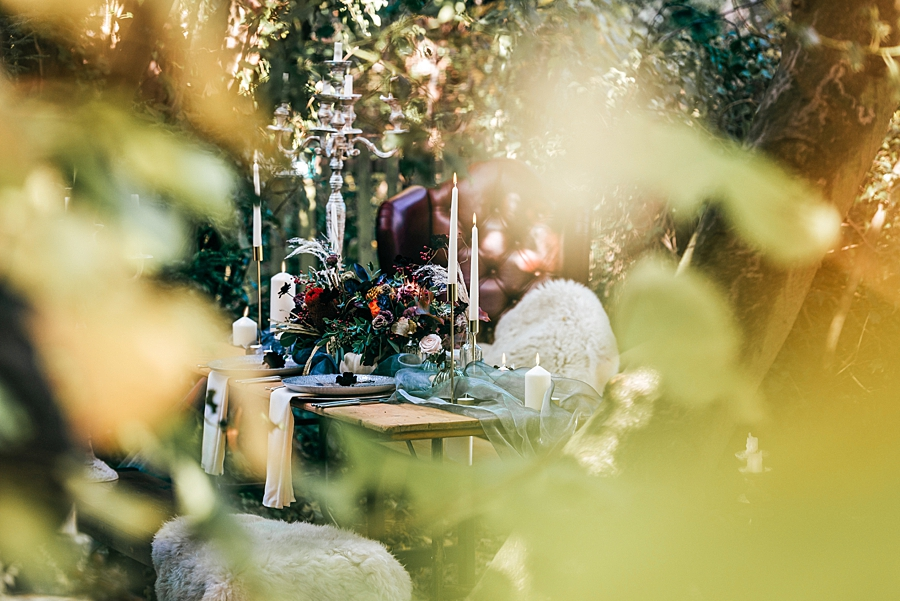 boho bride in woodland wedding