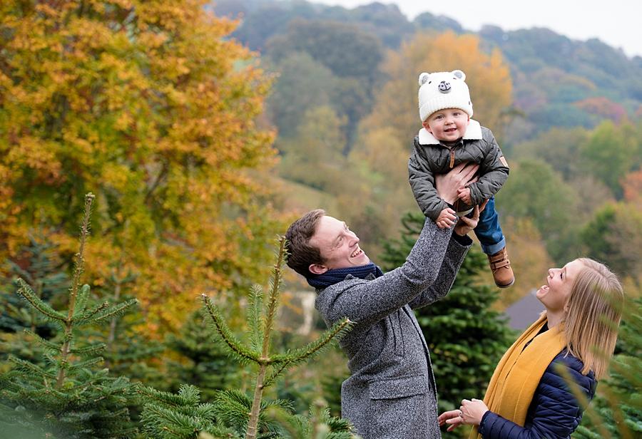 family photograph at bishops offley christmas tree farm